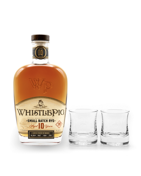 Small Batch Rye Aged 10 Years with a Pair of Shoreham Whiskey Glasses Handcrafted by Simon Pearce